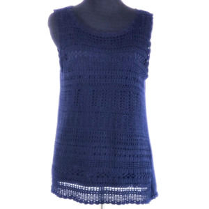 Talbots Navy Blue Crochet Sleeveless Top Size Med